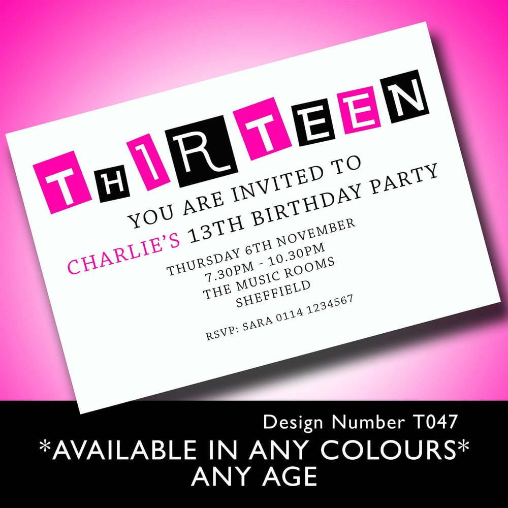 13th birthday invitation card designs