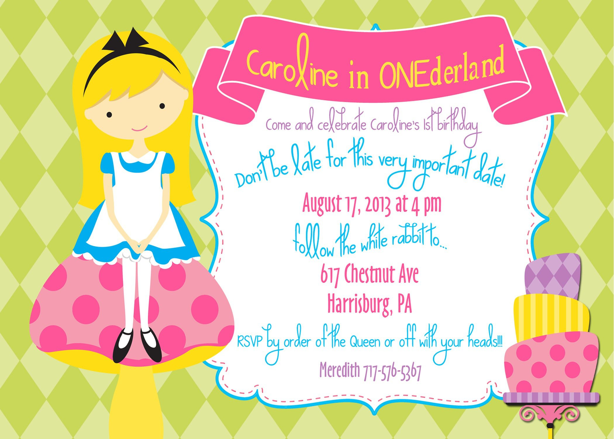 alice and wonderland birthday invitations