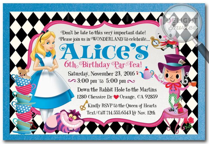 alice in wonderland birthday invitation cards