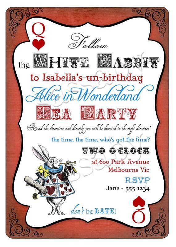 alice in wonderland birthday invitation wording ideas