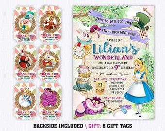 alice in wonderland birthday invitations etsy