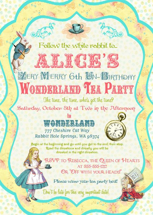 alice in wonderland birthday invitations free
