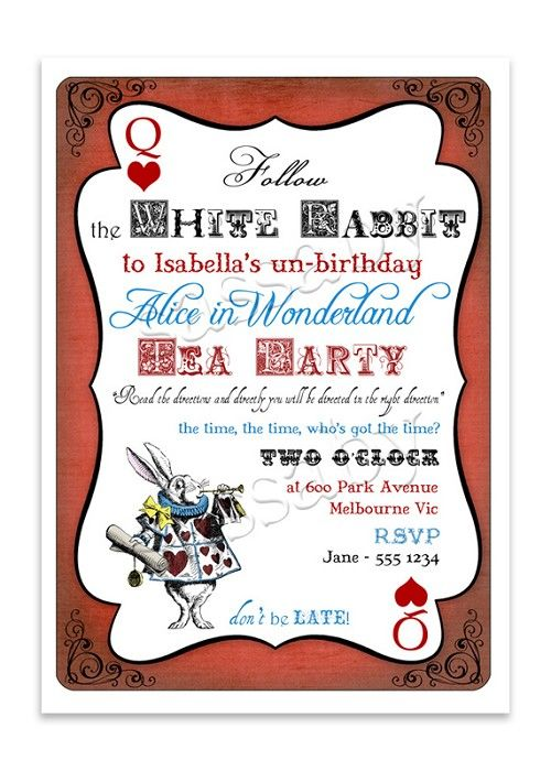 alice in wonderland birthday invitations templates free