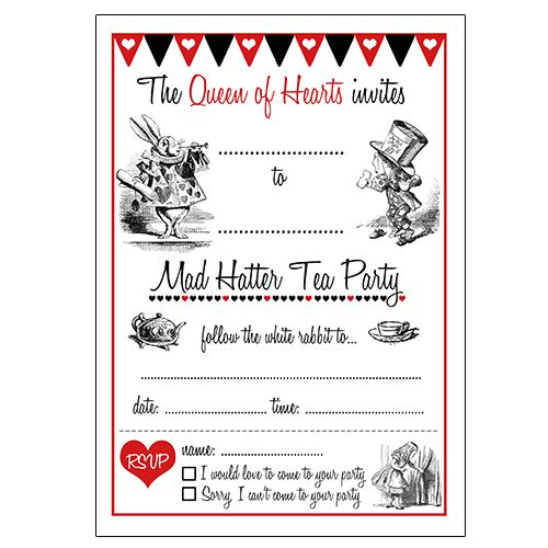 alice in wonderland birthday invitations templates