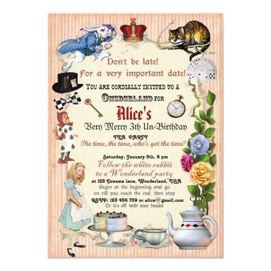 alice in wonderland birthday invitations