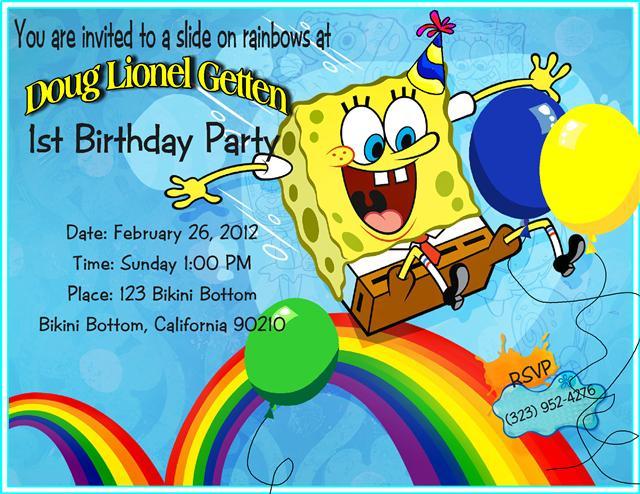 best spongebob birthday invitations