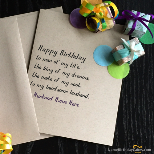 birthday card for husband with name