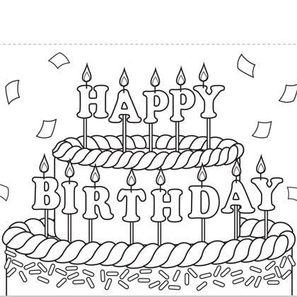 birthday cards to print and color