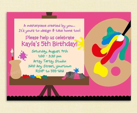 birthday invitation wording art party