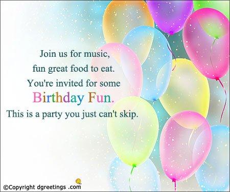 birthday invitations and wording