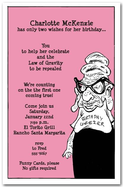 birthday invite wording funny