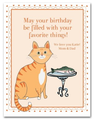 cat birthday card templates