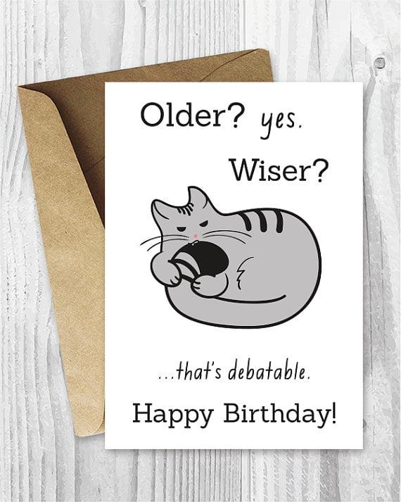 cat birthday card verse
