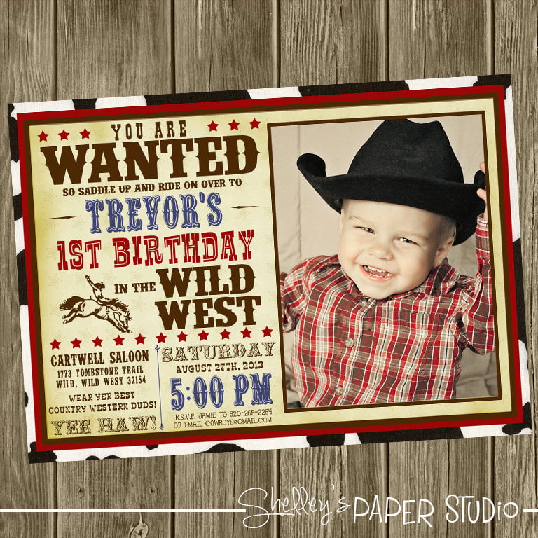 cheap cowboy birthday invitations