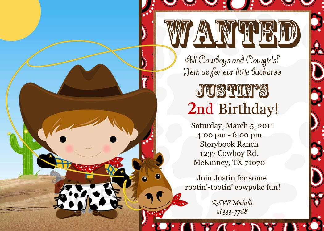 cheap western birthday invitations