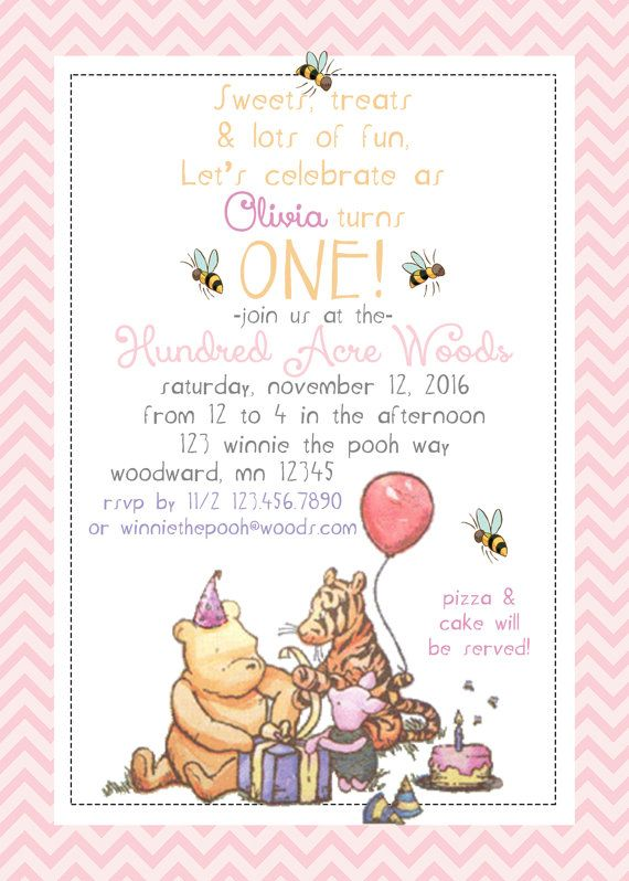 classic winnie the pooh birthday invitations