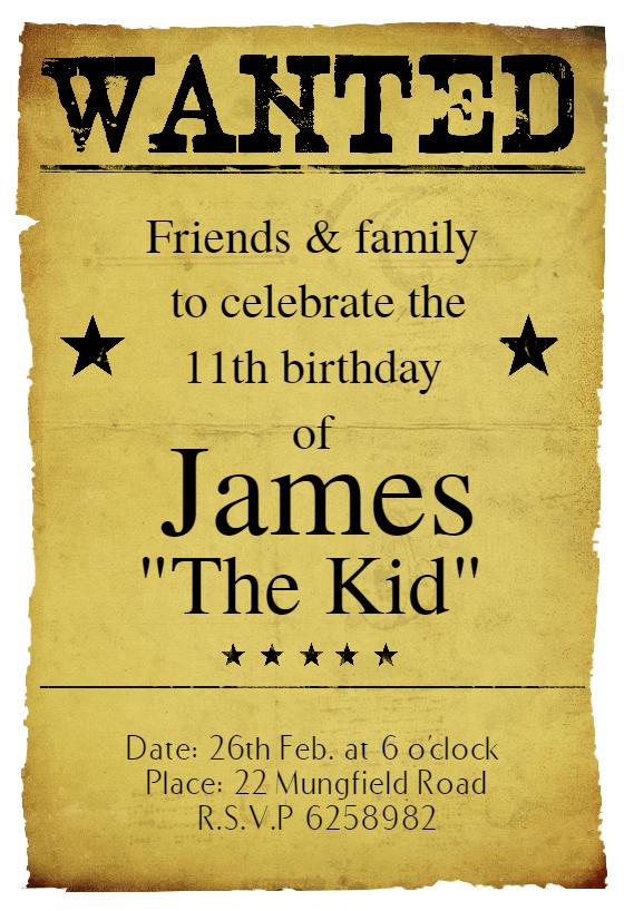cowboy birthday invitations free printable