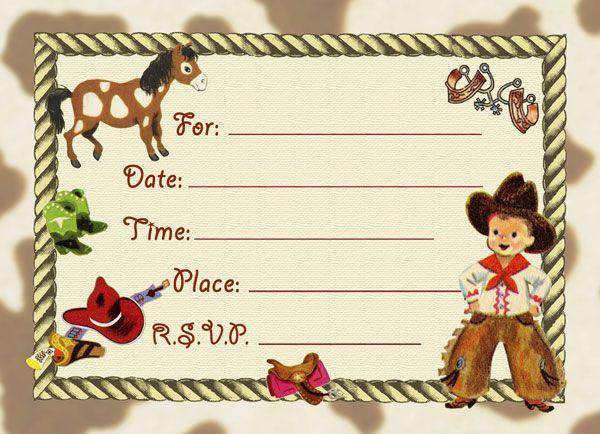 cowboy birthday invitations free