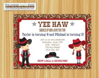 cowboy cowgirl birthday invitations