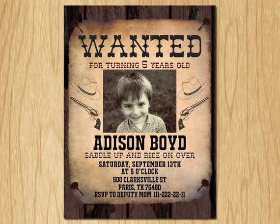 cowboy wanted birthday invitations