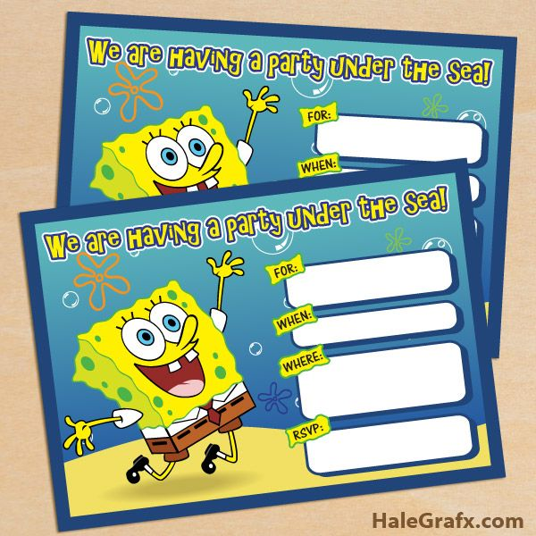 create spongebob birthday invitations