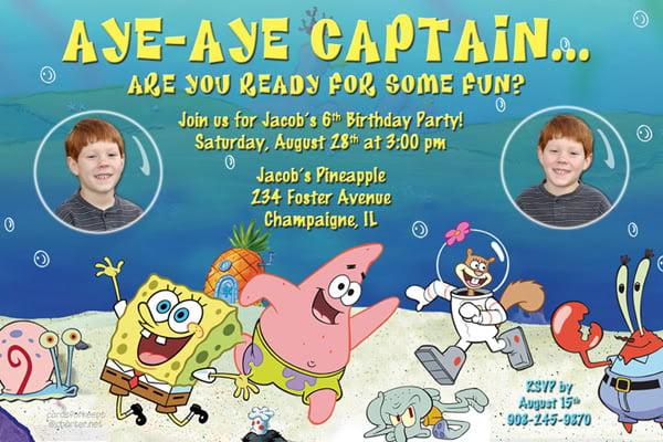 create your own spongebob birthday invitations