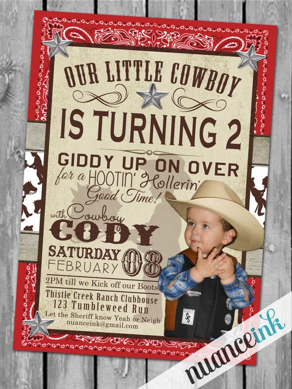custom western birthday invitations