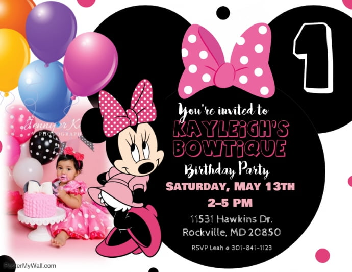 customized minnie mouse first birthday invitations