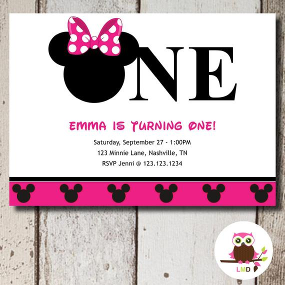 diy minnie mouse 1st birthday invitations