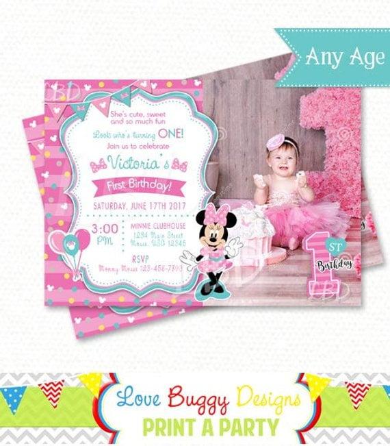 etsy minnie mouse 1st birthday invitations