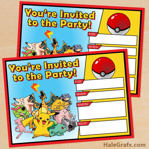 free pokemon birthday invitation cards