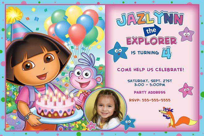 free printable dora explorer birthday card