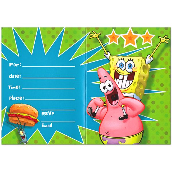 free spongebob birthday invitations templates