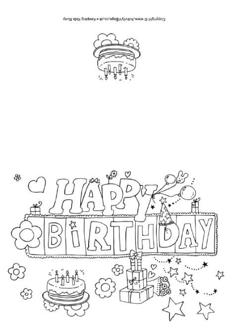 happy birthday cards to print and color