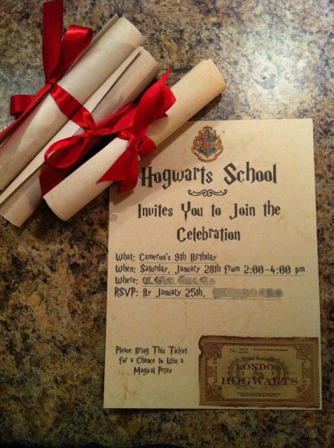 harry potter birthday invitations diy
