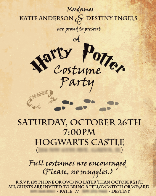 harry potter email birthday invitations