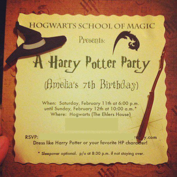 homemade harry potter birthday invitations