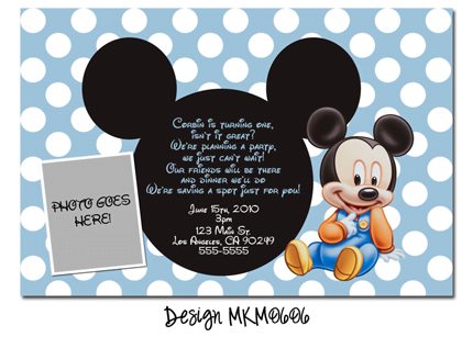 mickey mouse first birthday party invitation wording