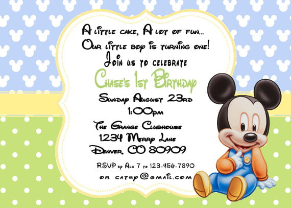 mickey mouse first birthday photo baby invitations