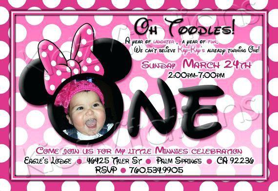 minnie mouse first birthday invitation wording