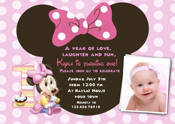 minnie mouse first birthday photo invitations