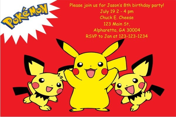 pokemon birthday invitations personalized