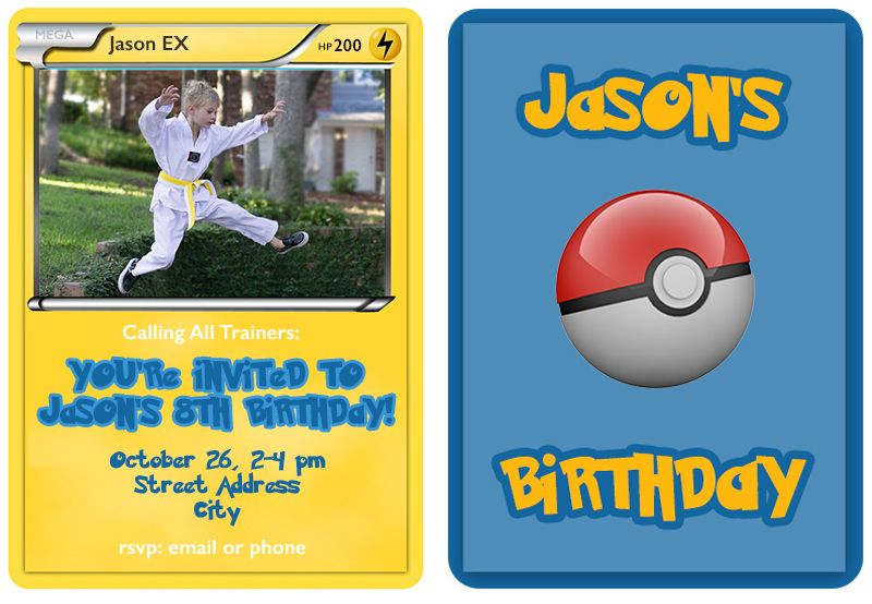 pokemon trading card birthday invitations