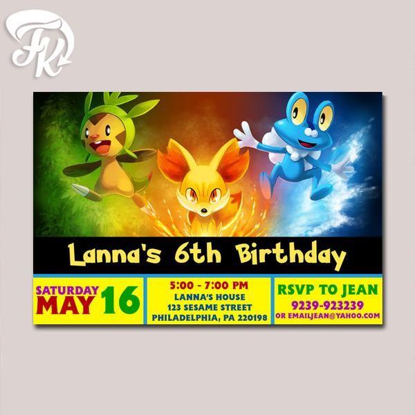 pokemon x and y birthday invitations