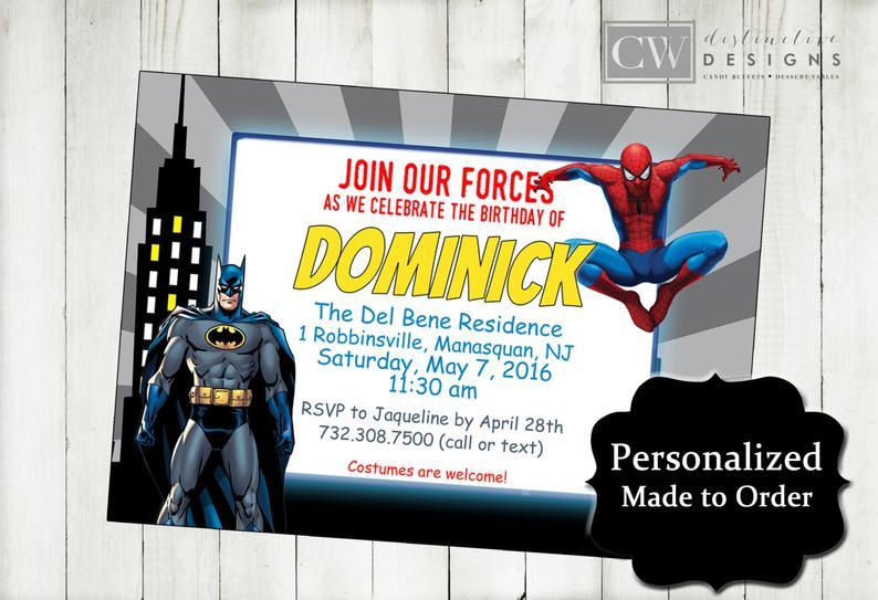 spiderman and batman birthday invitations