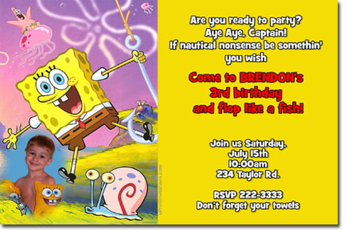 spongebob birthday invitations with photo