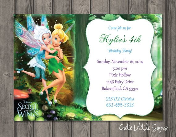 tinkerbell and periwinkle birthday invitations