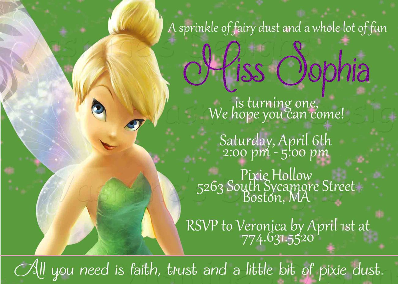 tinkerbell birthday invitations canada
