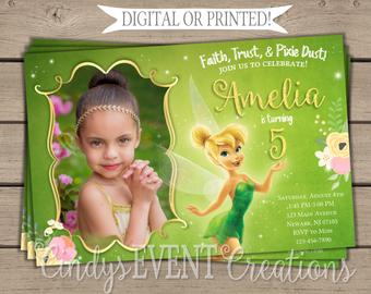 tinkerbell birthday invitations etsy