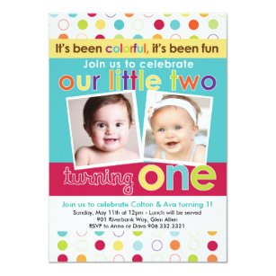 twin first birthday invitations